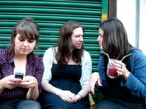 Texting Amy, arguing Phoebe . . . by Mrlerone, with Creative Commons licence