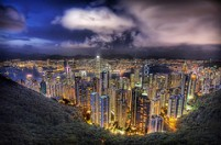 Hong Kong from the Peak on a summer's night, by Stuck in customs, with Creative Commons licence
