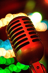 Neon mic, by fensterbme, with Creative Commons licence