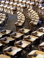 Scottish Parliament - debating chamber, by Daveybot, with Creative Commons licence